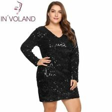 Women Dress Plus Size Sexy Deep V-Neck Long Sleeve Sequin Bodycon Cocktail Club
