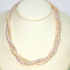 5mm Pink & Peach Freshwater Pearls Two Strands NECKLACE Strung on Silver Chains