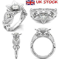 Womens Ladies Flower Rose Leaf Flower Ring Party Jewelry Engagement Zircon Rings