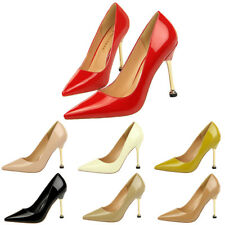 Point Toe Patent Leather Solid High Heel Stiletto Metal D Buckle Lady Pump Shoes
