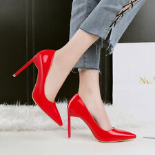 Fashion PU Wet Look OL High Heels Stilettos Point Toe Ladies Shallow Pumps Shoes