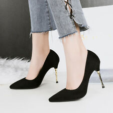 Fashion Shallow Suede High Heels Stilettos Point Toe Solid Ladies OL Pumps Shoes