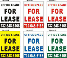 3ftX4ft Custom Printed OFFICE SPACE FOR LEASE Banner Sign with Your Phone Number