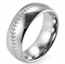 Mens ring 8mm Dome Tungsten Carbide Baseball Stitch wedding band
