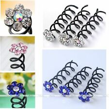 10x Colorful Faceted Crystal Flower Hairpin Spiral Screw Twist Bridal Barrette