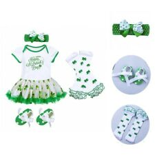 Girls Baby Infant Clothes Outfit Romper Headband Leg Warmers Shoes Set Shamrock