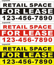 3ftX8ft Custom Printed RETAIL SPACE FOR LEASE Banner Sign with Your Phone Number