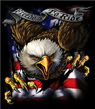 Freedom To Ride Biker T Shirt With Eagle and American Flag    ALMOST GONE !!!!