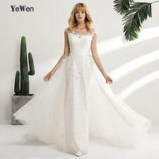 YeWen Illusion Back Scoop Neck Appliques Lace wedding dresses 2018 Mermaid Remov