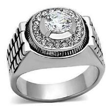 TK948pb MENS ROLLO STAINLESS STEEL MANS PINKY SIMULATED DIAMOND RING SIGNET