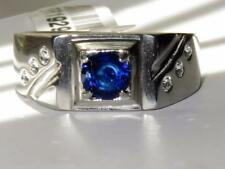 1929 MANS PINKY SIMULATED DIAMOND MENS RING SIGNET BLUE SAPPHIRE STAINLESS STEEL