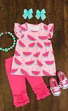 Boutique Toddler Girls Hot Pink Watermelon Spring Summer Ruffle Capri Outfit New