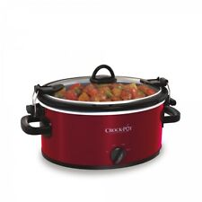 Slow Cooker Stainless Steel 4 Quart Glass Lid Heat Settings Dishwasher Safe Red
