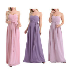 Women Ladies Strapless Chiffon Bridesmaid Dress Long Evening Prom Gown Cocktail