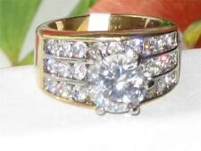 1553 4ct SOLITAIRE ACCENTS SIMULATED DIAMOND PRETTY RING STAINLESS STEEL GOLD