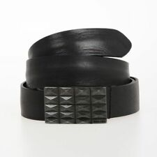 DIESEL New Man 30mm Black Leather B-FACES Belt Made in Italy NWT Original