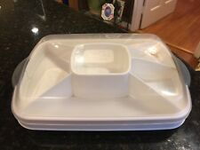 Pampered Chef Chillzanne Rectangle Cold Server/Veggie/Deviled Egg Tray w/Divider