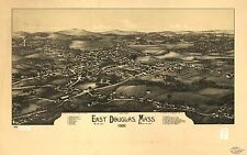 Poster Print Antique American Cities Towns States Map East Douglas Mass