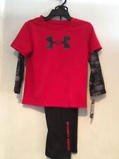 NWT Boys Under Armour 2 pc Shirt & Pants UNDER ARMOUR LOGO Red Black  24 months