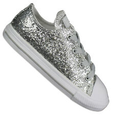 Converse Star Chuck Taylor Ox Shoes Glitter Silver Children's Sneakers Size 2