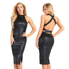 Women's Pu Leather Sleeveless Bodycon Backless Side Slit Party Bandage Dresses