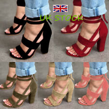 UK Ladies Party High Block Heels Ankle Strappy Sandals Peep Toe Summer Shoes 3-8