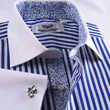 Blue Striped Dress Shirt Formal Contrast French Cuff Business Fashion Floral Top