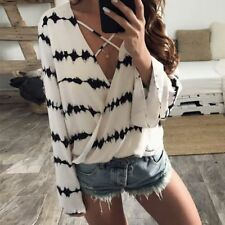 Women Clothes Summer Sexy V-Neck Stripe Casual Long Sleeve Tops Shirt Blouse #