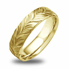 14K-18K White Or Yellow Gold Satin Engraved Leaf Mens Wedding Band