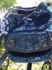 Coach Poppy Limited Edition Blue Sequin Backpack With Top Handle Purse