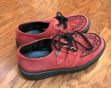TUK Viva Low Creepers Womens Size 8 Men 6 Red Suede Platform Hipster Shoes