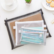Clear Exam Pencil Case Transparent Simple Mesh Zipper Stationery Bag School FU
