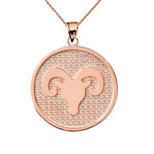 Solid 14k Rose Gold Aries Zodiac Disc Pendant Necklace