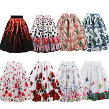 PLUS S-4XL Women Vintage Retro Skirt with Pocket Zipper Flower Print Midi Skirt