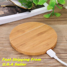 US! Wireless Charger Pad Qi Wooden Mat Charging Mini For Samsung iPhone8/iPhoneX