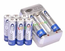 8x AA 1.2V Ni-MH 3000mAh Blue BTY Rechargeable Battery + AA AAA Charger
