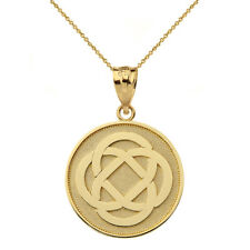 Polished Solid 10k Yellow Gold Celtic Knot Flower Disc Pendant Necklace