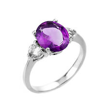 2.0 CTW Oval Amethyst Three Stone Engagement Ring in White Gold
