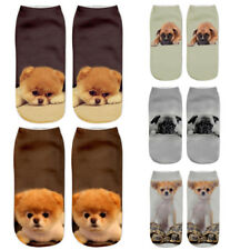 Fashion Unisex Dog Socks Cotton 3D Printed Animals Low Cut Ankle Socks 1 Pair