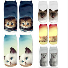 Fashion Unisex Cat Socks Cotton 3D Printed Animals Low Cut Ankle Socks 1 Pair
