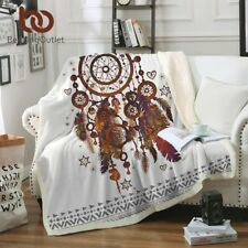 Velvet Plush Throw Blanket Watercolor Sherpa Blanket  Couch Dreamcatcher Feather
