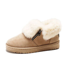 Warm Short Winter Womens Casual Shoes Boots Snow Suede Fur Lined Zip Ankle Boot