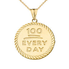 "Solid 10k Yellow Gold ""100 Every Day "" Rope Disc  Pendant Necklace"