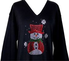 X-LARGE Top Rhinestone Embellished Christmas Red Top Hat & Cape Snowman Design