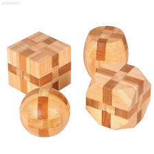 A622 1PCS Bamboo Lock 3D Handmade Wooden Toy Adults Puzzle Brain Teaser Game