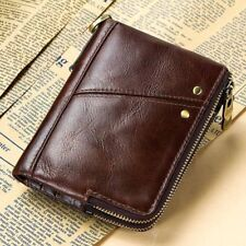 Vintage Leather Men Wallet With Zipper RFID Fashion Male Coin Purse Card Holder
