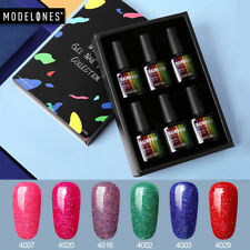 Modelones 6PCS 10ML UV LED Gel Polish Neon/Rose Glitter/Firework/Holographic Set