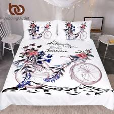 Bicycle Boho Bedding Set Roses Floral Duvet Cover Set Moon Printed Home Textiles