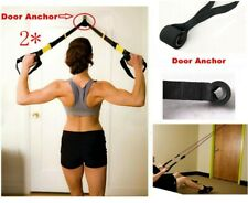 2*New Resistance Exercise Bands Strength Train - Advanced Door Anchor Black,