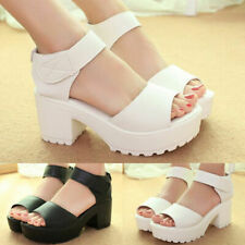 Fashion Women Ankle Strap Peep Toe Sandals Mid Heel Chunky Platform Casual Shoes